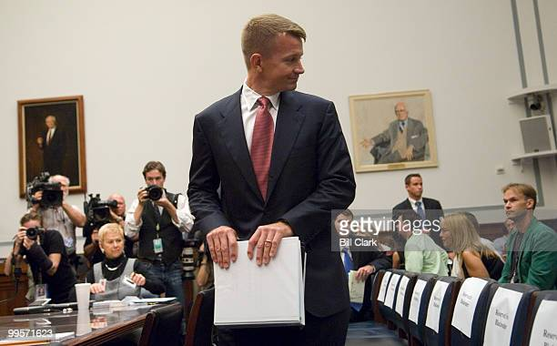 Erik Prince chairman of the Prince Group LLC and Blackwater USA arrives for the House Oversight and Government Reform Committee hearing on 'Private...