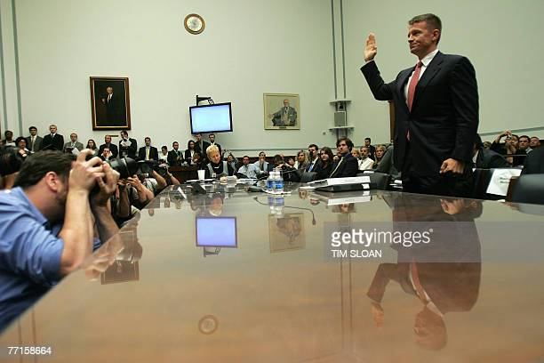Erik Prince chairman of US security firm Blackwater is sworn in before testifying before the House Oversight and Government Reform Committee hearing...