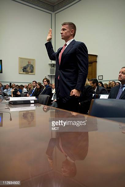 Erik Prince founder of CEO of Blackwater is sworn in before the House Oversight and Government Reform committee on Capitol Hill Tuesday October 2...