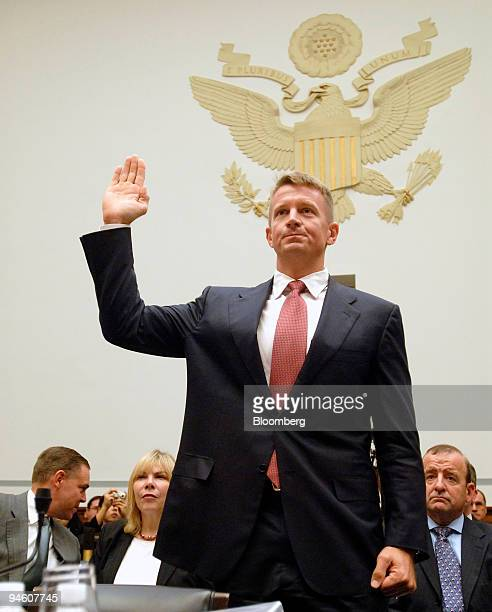 Erik Prince the chairman of Blackwater USA is sworn in before testifying at a House Oversight and Government Reform Committee hearing in Washington...