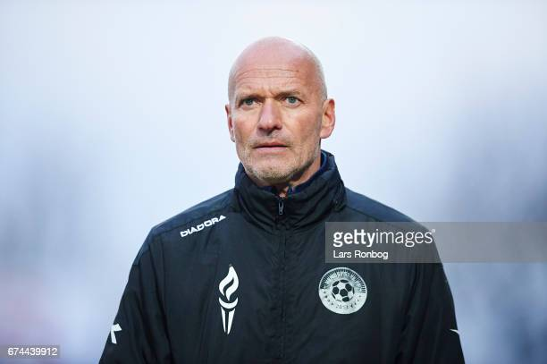 Erik Rasmussen head coach of Vendsyssel FF looks on during the Danish cup DBU Pokalen semfinal match between Vendsyssel FF and FC Copenhagen at...