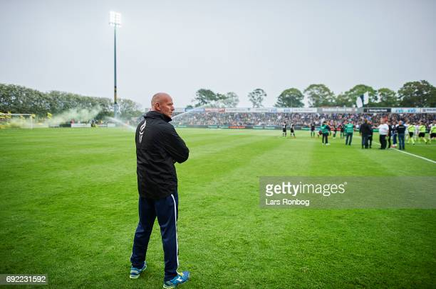 Erik Rasmussen head coach of Vendsyssel FF looks on prior to the Danish Alka Superliga Playoff match between Vendsyssel FF and AC Horsens at Bredband...