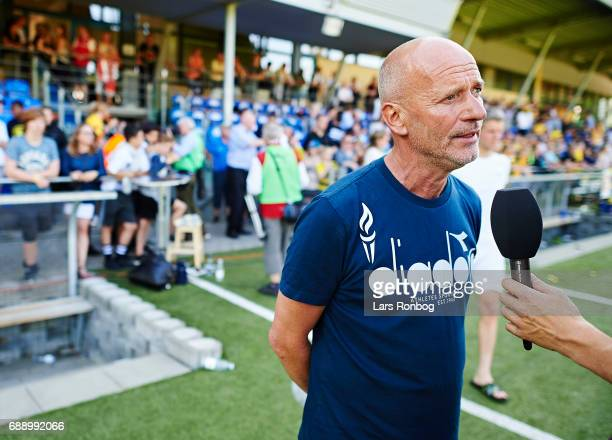 Erik Rasmussen head coach of Vendsyssel FF speaks to the media after the Danish NordicBet LIGA 1 division match between Hobro IK and FC Vendsyssel at...
