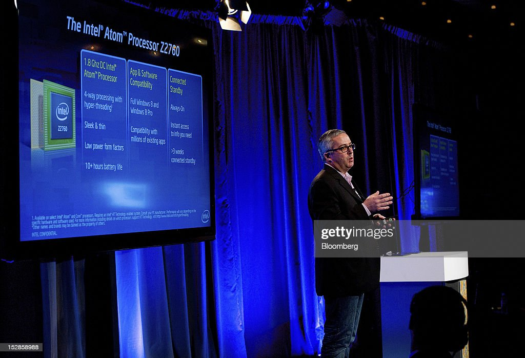 Erik Reid, general manager of the apps processor division for Intel Corp.'s mobile communications group, speaks during an event in San Francisco, California, U.S., on Thursday, Sept. 27, 2012. Intel Corp.'s delayed delivery of software that conserves computer battery life is holding up the development of some tablets running the latest version of Microsoft Corp.'s flagship Windows operating system, a person with knowledge of the matter said. Photographer: David Paul Morris/Bloomberg via Getty Images
