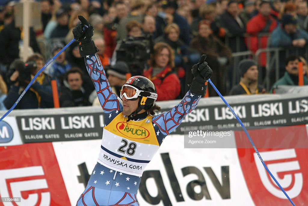 Erik Schlopy of the USA celebrates his way to a 4th place in the Men's Giant Slalom on January 4, 2003 at the FIS World Cup in Kranjska Gora, Slovenia.