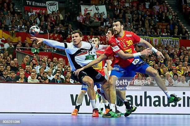 Erik Schmidt of Germany attacks during the Men's EHF Handball European Championship 2016 match between Spain and Germany at Centenial Hall on January...
