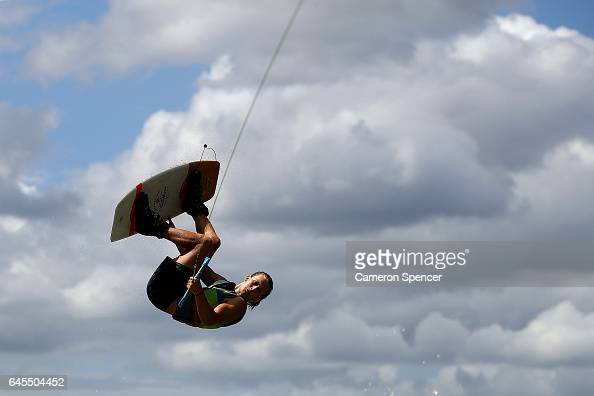 Erik Schroeder competes in the NSW Wakeboarding State Titles at Governor Phillip Park in Windsor on February 26 2017 in Sydney Australia