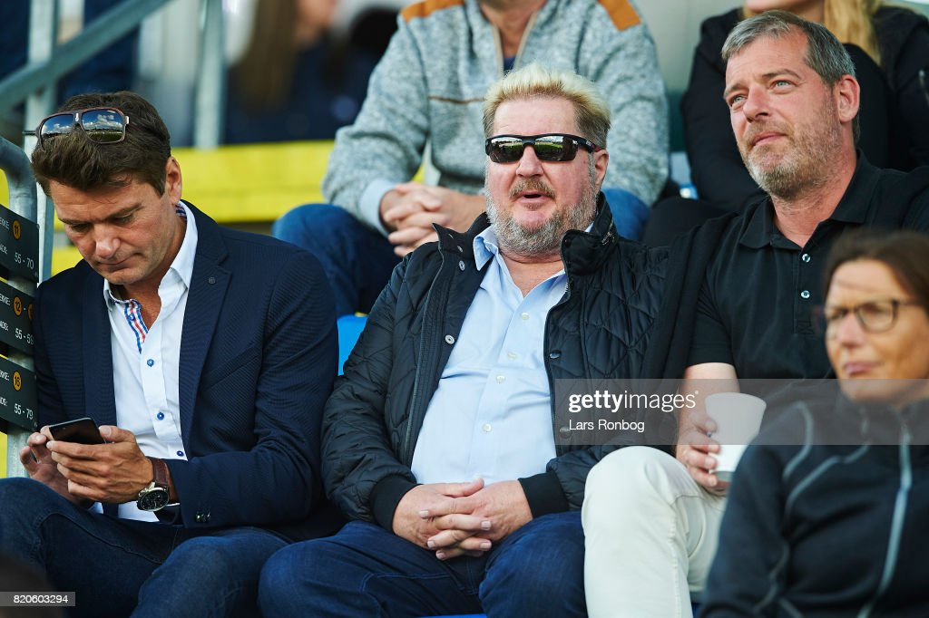 Erik Skjarbak, board member of FC Copenhagen looks on from the stand prior to the Danish Alka Superliga match between OB Odense and FC Nordsjalland at EWII Park on July 17, 2017 in Odense, Denmark.