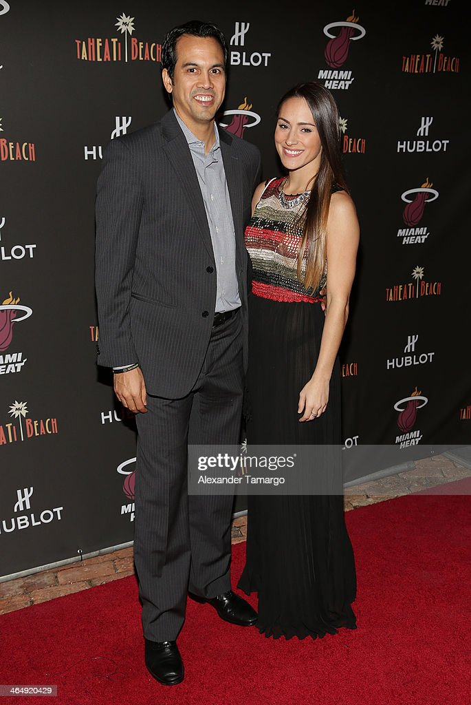Erik Spoelstra and Nikki Sapp attend the Miami Heat Family Foundation TaHEATi Beach Fundraising Event brought to you by Hublot on January 24 2014 in...