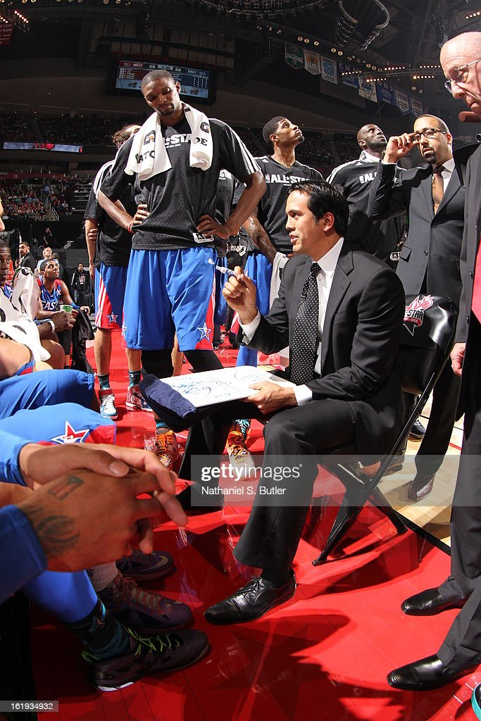 Erik Spoelstra Head Coach of the Eastern Conference All-Star Team during 2013 NBA All-Star Game on February 17, 2013 at the Toyota Center in Houston, Texas.