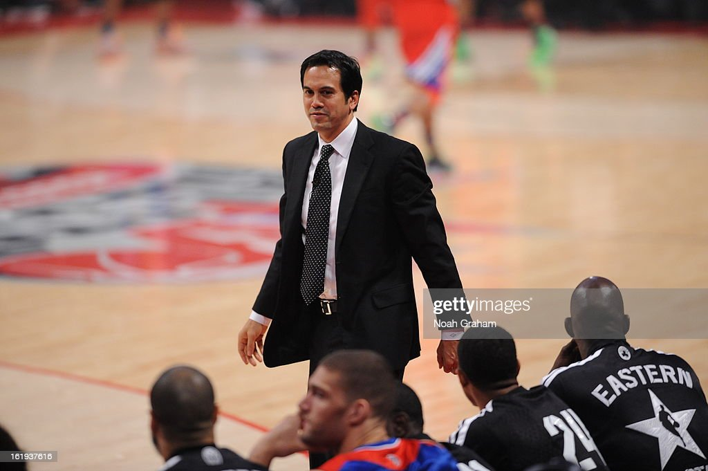 Erik Spoelstra head coach of the Eastern Conference All-Stars against the Western Conference All-Stars coaches during the 2013 NBA All-Star Game presented by Kia on February 17, 2013 at the Toyota Center in Houston, Texas.