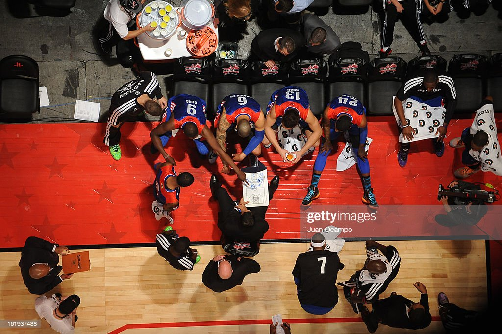Erik Spoelstra, Head Coach of the Eastern Conference All-Stars instructs his team against the Western Conference All-Stars during 2013 NBA All-Star Game on February 17, 2013 at Toyota Center in Houston, Texas.