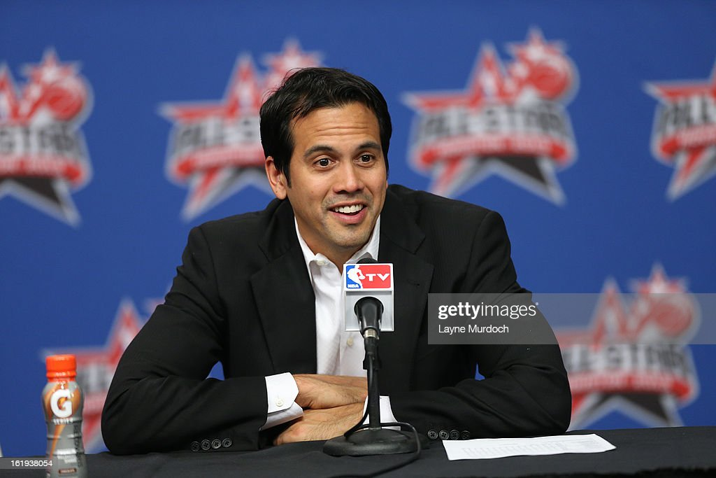 Erik Spoelstra, head coach of the Eastern Conference All-Stars talks to the media following the 2013 NBA All-Star Game during All Star Weekend on February 17, 2013 at the Toyota Center in Houston, Texas.
