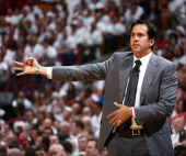 Erik Spoelstra Head Coach of the Miami Heat directs the team against the San Antonio Spurs during Game Three of the 2014 NBA Finals at American...