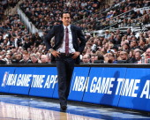 Erik Spoelstra Head Coach of the Miami Heat in Game One of the 2014 NBA Finals at ATT Center on June 5 2014 in San Antonio Texas NOTE TO USER User...