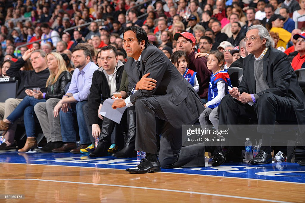 Erik Spoelstra, head coach of the Miami Heat reacts during the game against the Philadelphia 76ers at the Wells Fargo Center on February 23, 2013 in Philadelphia, Pennsylvania.