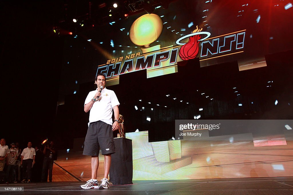 Erik Spoelstra, Head Coach of the Miami Heat talks to the crowd during a rally for the 2012 NBA Champions Miami Heat on June 25, 2012 at American Airlines Arena in Miami, Florida.