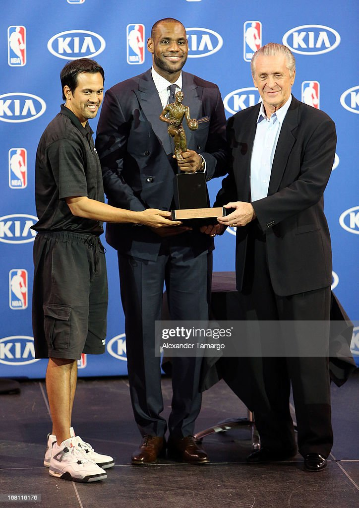 Erik Spoelstra, LeBron James and Pat Riley attend the LeBron James press confernece to announce his 4th NBA MVP Award at American Airlines Arena on May 5, 2013 in Miami, Florida.