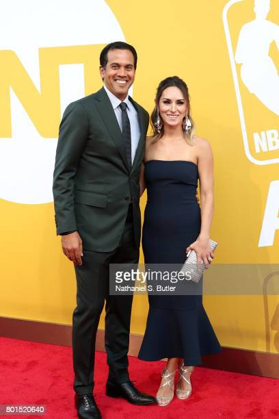 Erik Spoelstra of the Miami Heat arrives at the red carpet at the NBA Awards Show on June 26 2017 at Basketball City at Pier 36 in New York City New...