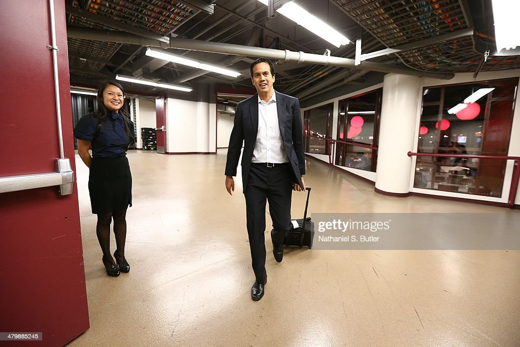 Erik Spoelstra of the Miami Heat arrives before the game against the Chicago Bulls at the United Center in Chicago NOTE TO USER User expressly...