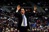 Erik Spoelstra of the Miami Heat calls a play during a game against the Detroit Pistons on February 3 2015 at The Palace of Auburn Hills in Auburn...