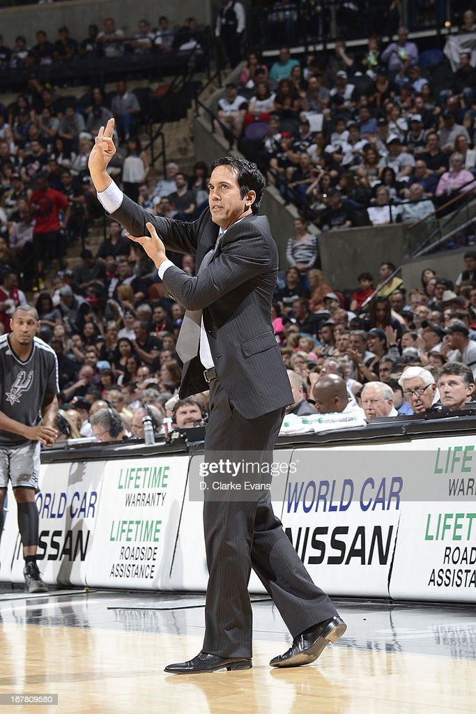 <a gi-track='captionPersonalityLinkClicked' href=/galleries/search?phrase=Erik+Spoelstra&family=editorial&specificpeople=573142 ng-click='$event.stopPropagation()'>Erik Spoelstra</a> of the Miami Heat calls plays from the bench during the game against the San Antonio Spurs on March 31, 2013 at the AT&T Center in San Antonio, Texas.
