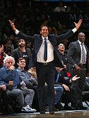 Erik Spoelstra of the Miami Heat celebrates during a game against the Washington Wizards on March 6 2015 at Verizon Center in Washington DC NOTE TO...