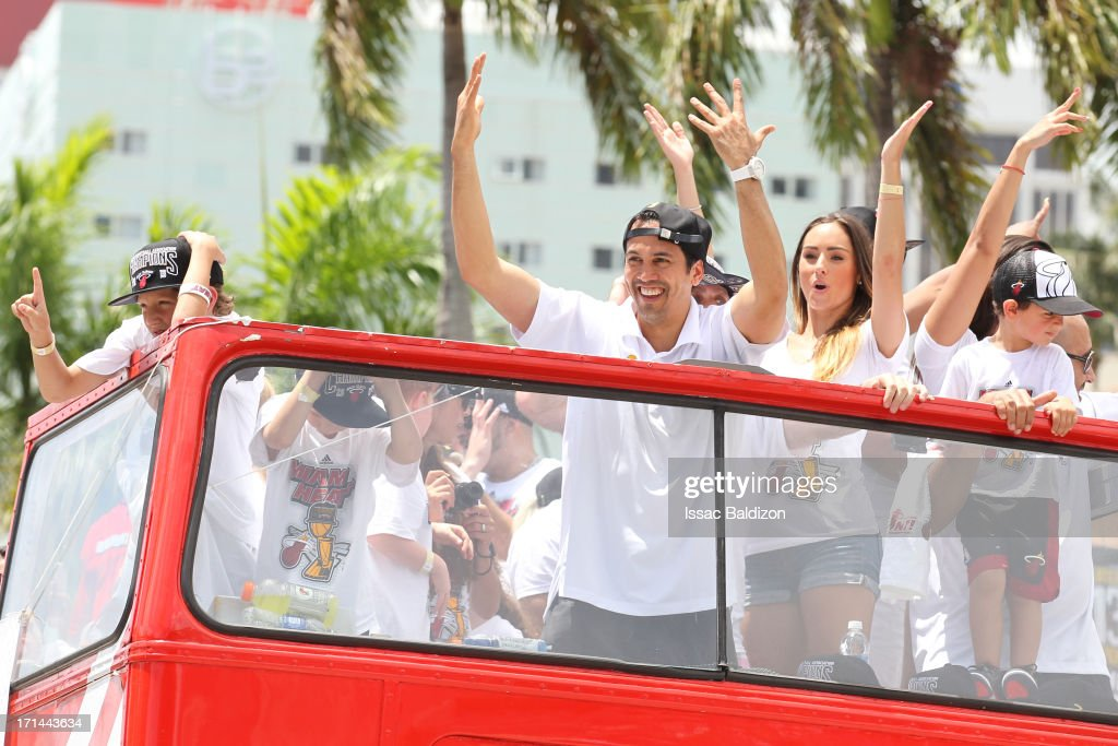 Erik Spoelstra of the Miami Heat celebrates during the championship celebration parade through downtown on June 24 2013 in Miami Florida The Miami...