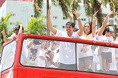 Erik Spoelstra of the Miami Heat celebrates during the championship celebration parade through downtown on June 24 2013 in Miami Florida The Miami...