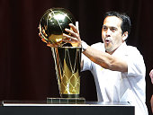 Erik Spoelstra of the Miami Heat celebrates the NBA Championship victory rally at the AmericanAirlines Arena on June 24 2013 in Miami Florida The...