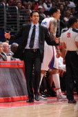 Erik Spoelstra of the Miami Heat directs his team against the Los Angeles Clippers at Staples Center on February 5 2014 in Los Angeles California...