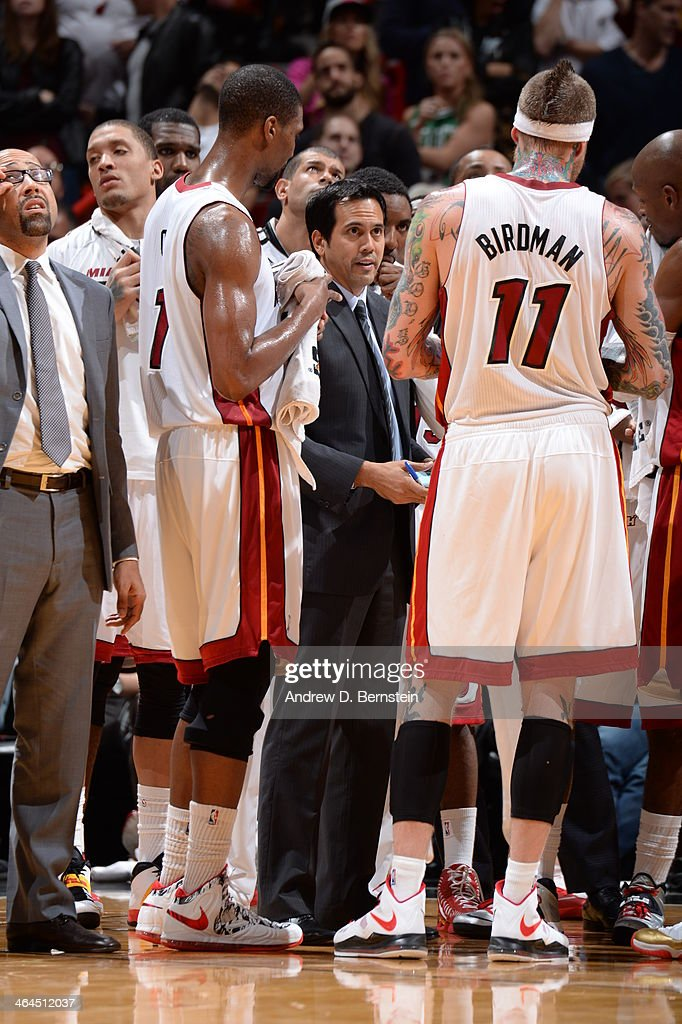 <a gi-track='captionPersonalityLinkClicked' href=/galleries/search?phrase=Erik+Spoelstra&family=editorial&specificpeople=573142 ng-click='$event.stopPropagation()'>Erik Spoelstra</a> of the Miami Heat during the game against the Boston Celtics at the American Airlines Arena in Miami, Florida on January 21, 2014.