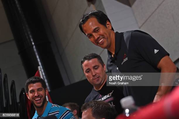 Erik Spoelstra of the Miami Heat looks on during the 2017 Las Vegas Summer League game against the Dallas Mavericks on July 11 2017 at Cox Pavillion...