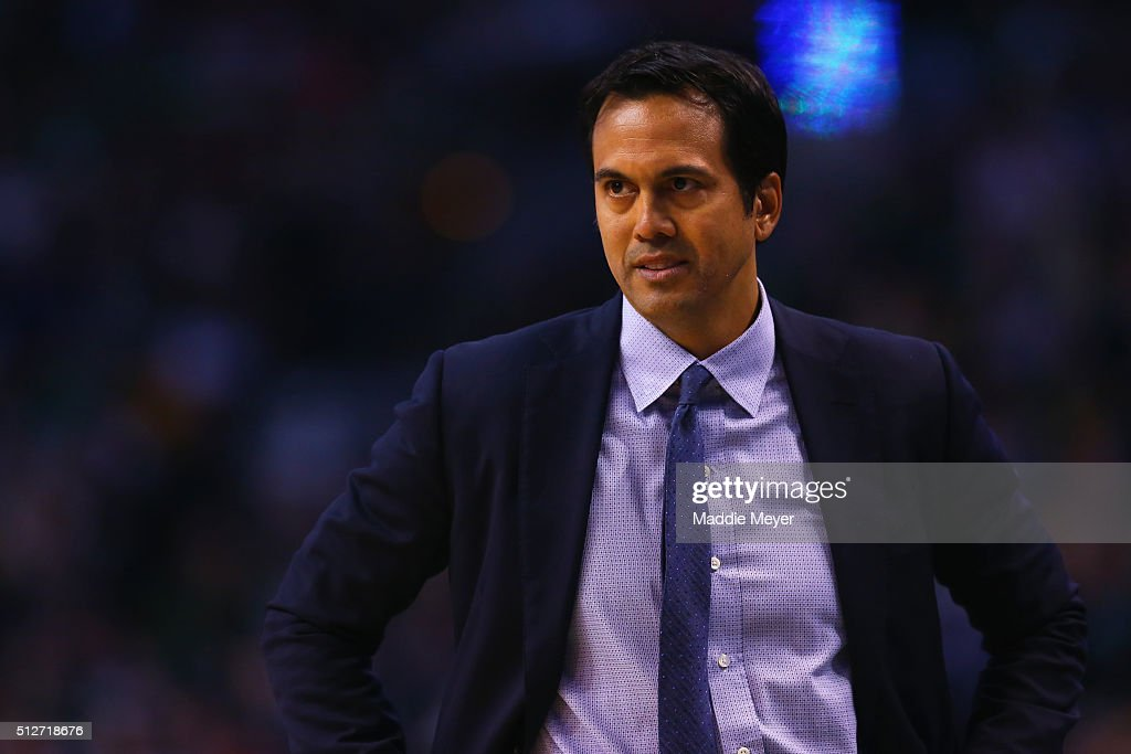 Erik Spoelstra of the Miami Heat looks on during the fourth quarter against the Boston Celtics at TD Garden on February 27 2016 in Boston...