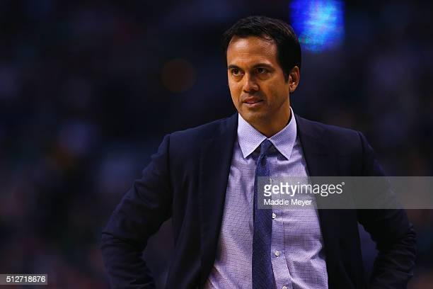 Erik Spoelstra of the Miami Heat looks on during the fourth quarter against the Boston Celtics at TD Garden on February 27 2016 in Boston...