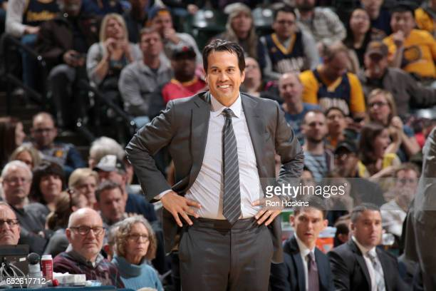 Erik Spoelstra of the Miami Heat smiles during the game against the Indiana Pacers on March 12 2017 at Bankers Life Fieldhouse in Indianapolis...