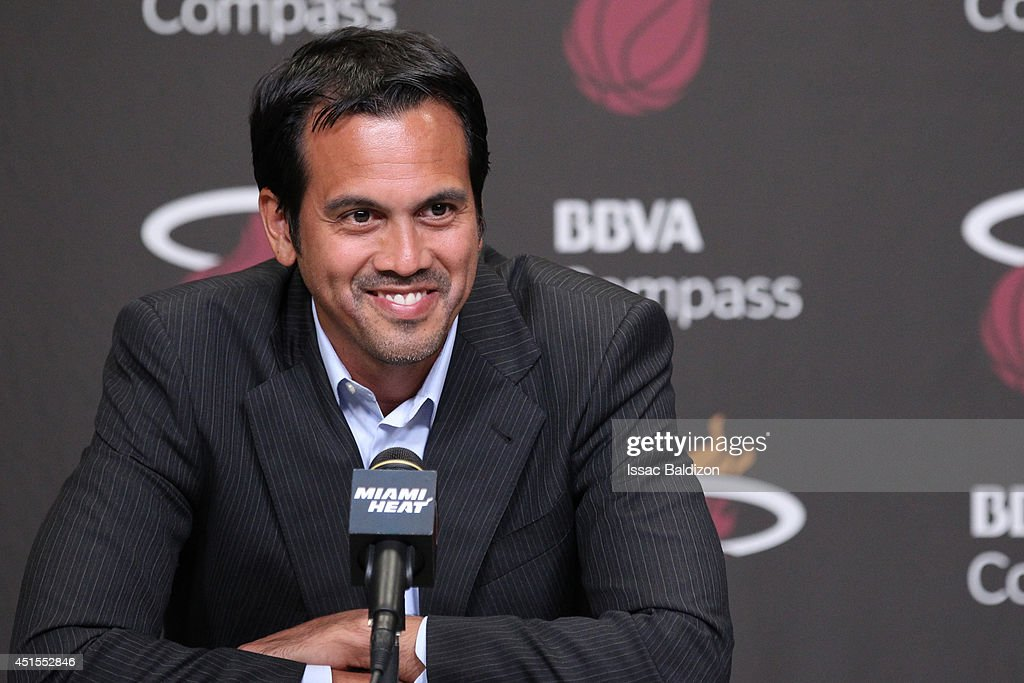 Erik Spoelstra of the Miami Heat speaks to the media during a press conference at the American Airlines Arena in Miami Florida NOTE TO USER User...