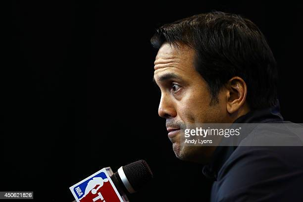 Erik Spoelstra of the Miami Heat speaks to the media on an off day following Game Four of the 2014 NBA Finals against the San Antonio Spurs at the...