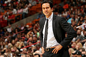 Erik Spoelstra of the Miami Heat stands on the court during a game against the New York Knicks on February 9 2015 at American Airlines Arena in Miami...