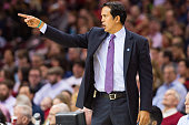 Erik Spoelstra of the Miami Heat yells instructions to his team during the first half against the Cleveland Cavaliers at Quicken Loans Arena on April...