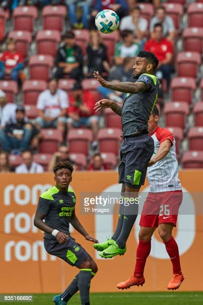Erik Thommy of Augsburg and Juergen Locadia of Eindhoven battle for the ball during the preseason friendly match between FC Augsburg and PSV...