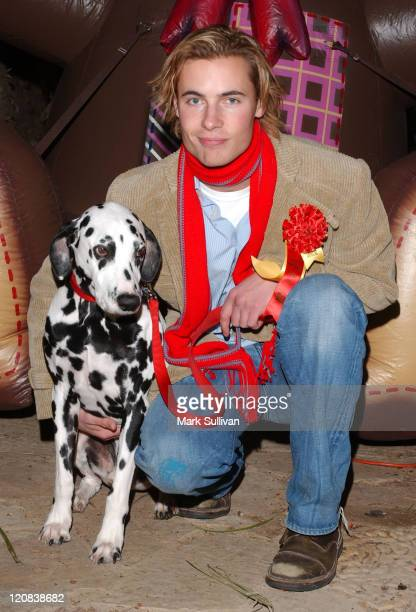 Erik von Detten and dog Miles during The 73rd Annual Hollywood Christmas Parade Arrivals at Hollywood Roosevelt Hotel in Hollywood California United...