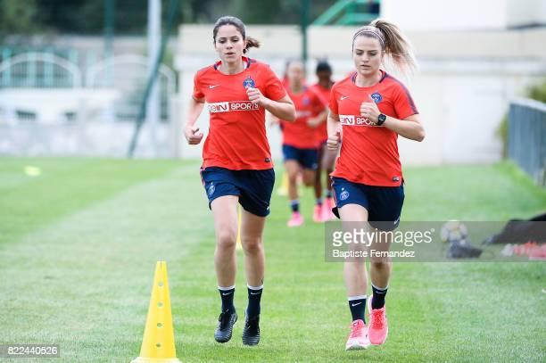 Erika and Melike Pekel of Paris Saint Germain during a training session of Paris Saint Germain at Bougival on July 25 2017 in Paris France