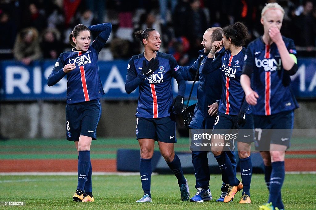 Erika and Rosana of PSG celebrate during Uefa Women's Champions League match between Paris Saint Germain and Fc Barcelona round of 8 second leg at...