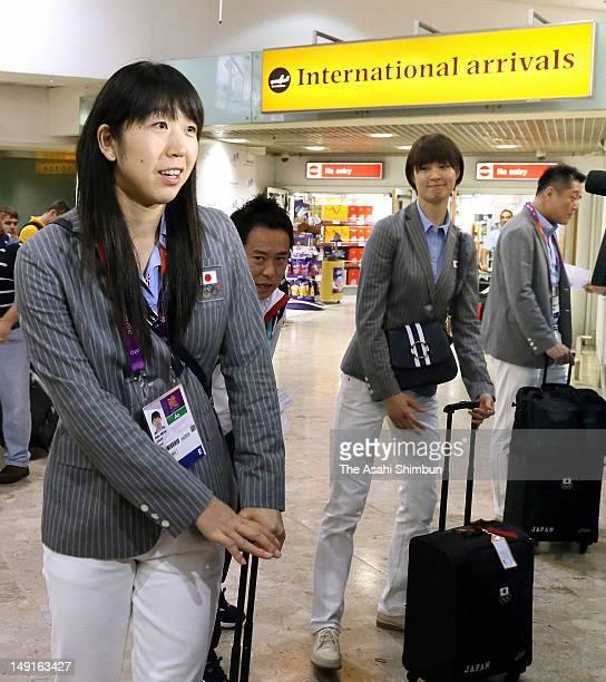 Erika Araki and Saori Kimura of Japan Women's volleyball team arrive at Heathrow Airport on July 22 2012 in London England