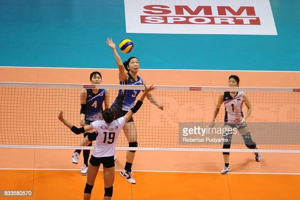 Erika Araki of Japan spikes during the 19th Asian Senior Women's Volleyball Championship 2017 Final match between Thailand and Japan at Alonte Sports...