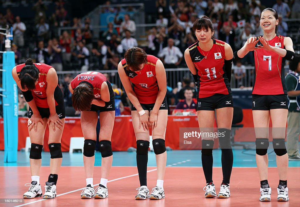 Erika Araki #5, Saori Kimura #18, Maiko Kano #8, Ai Otomo #11, and Kaori Inoue #7 of Japan celebrates after defeating Korea to win their Women's Volleyball bronze medal match on Day 15 of the London 2012 Olympic Games at Earls Court on August 11, 2012 in London, England.