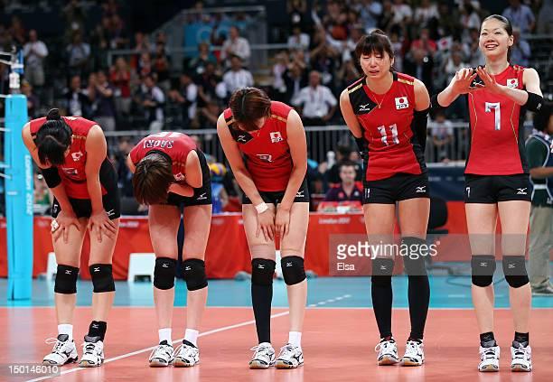 Erika Araki Saori Kimura Maiko Kano Ai Otomo and Kaori Inoue of Japan celebrates after defeating Korea to win their Women's Volleyball bronze medal...