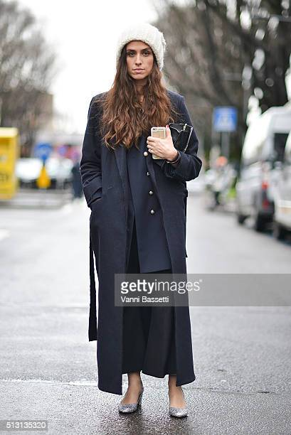 Erika Boldrin poses wearing a Topshop coat after the Giorgio Armani show during the Milan Fashion Week Fall/Winter 2016/17 on February 29 2016 in...