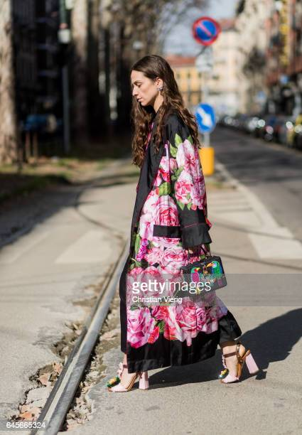 Erika Boldrin wearing a kimono with floral print outside Dolce Gabbana during Milan Fashion Week Fall/Winter 2017/18 on February 26 2017 in Milan...